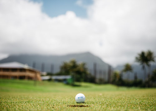 A golf ball is pictured next to a hole on the course at Bay View Golf Course in Kaneohe